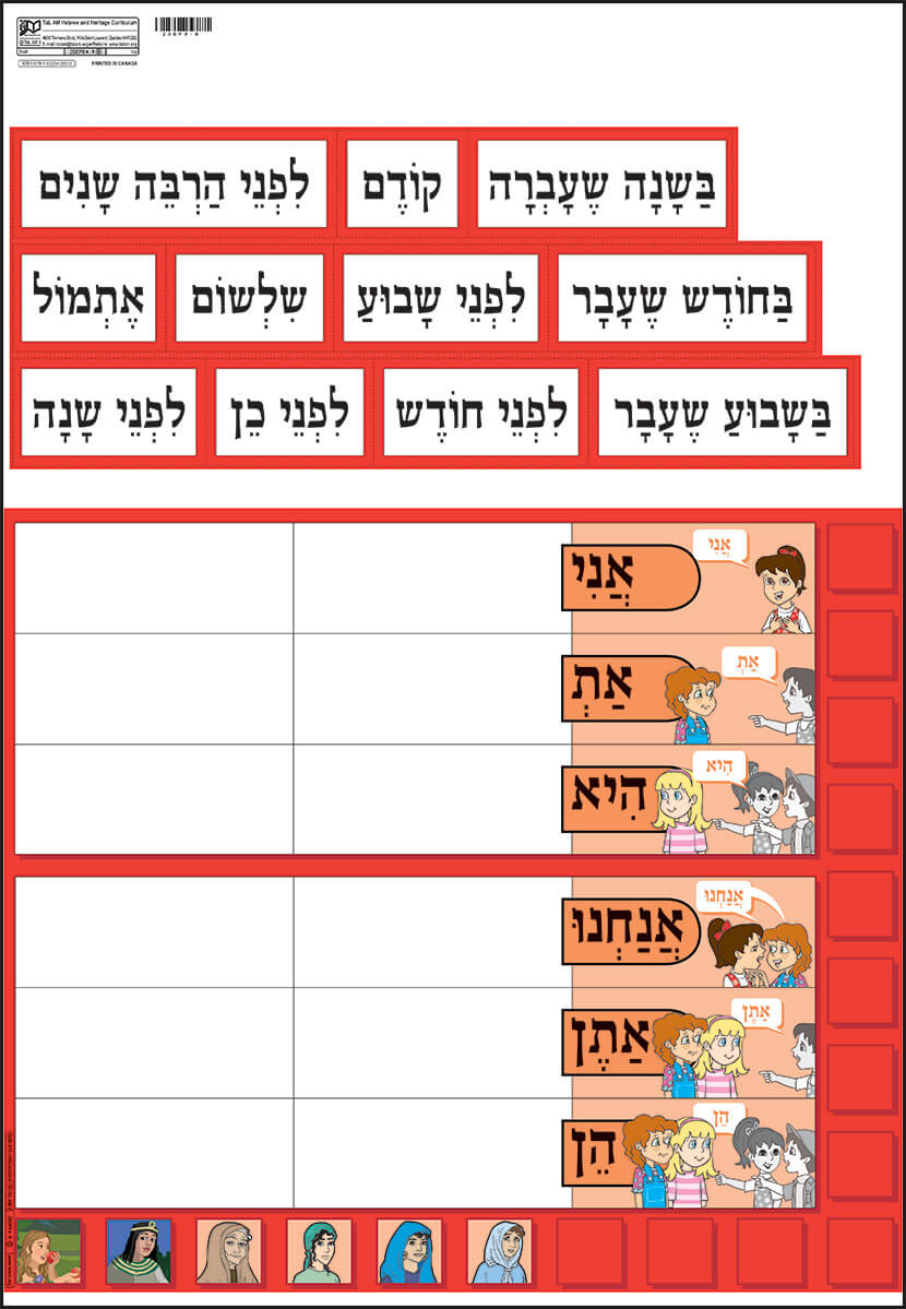 Poster-Luach Avar (Hebrew Grammar-Past Tense)-Sheet B